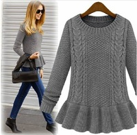 2013 autumn medium-long slim basic twisted o-neck sweater pullover sweater female autumn and winter thickening