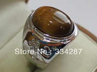 Beautiful   Double-heart shape jadeite  Tiger's eye stone  Gift Jewelry Ring 13X18MM Bead 18KGP