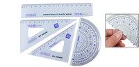 4PCS Plastic Clear Blue Geometry Ruler Combination Sets