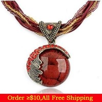 Min Order $10(Mix Items) Bohemia Fashion Mediterranean Style Beads Rope Turquoise Pendant Necklace Wholesale