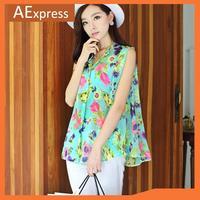 2013 New Arrival Korean Fashion Women Tops with Little Stand Collar, Flower Print Sleeveless Chiffon Shirt with Belt Design, 109