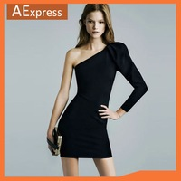 Free Shipping, 2013 Nightclub One-shoulder Strapless Black Sexy Mini Dress, The Evening Party Dress