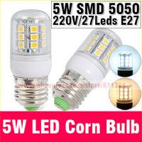 5W E27 220V 5050 Warm White/White LED Corn Bulb 27 pcs Led Chip Bulb 360 degree bulbs Spot Light E27 Led Corn Bulb Lighting