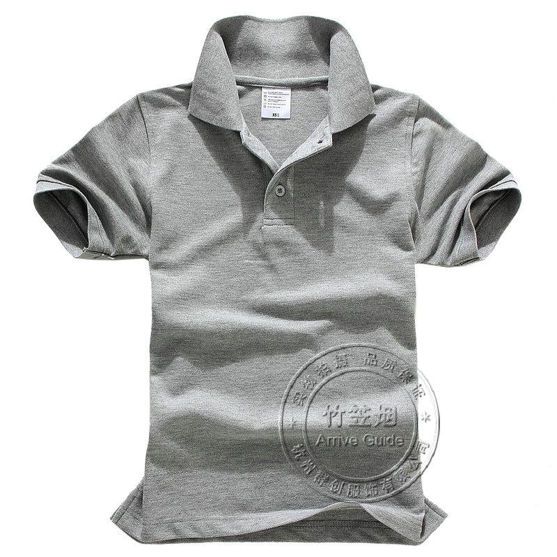 Summer short-sleeve t-shirt shirt loose t-shirt shirts heather grey turn-down collar(China (Mainland))