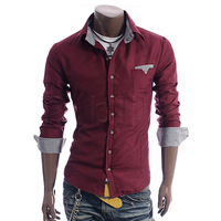 Free Shipping Men's Slim Fit Sport T-shirt Plaid Bordered New Fashion