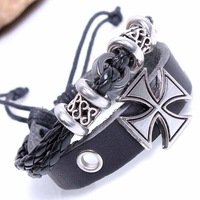 2pcs/lot Fashion Multilayer Cross Braided Genuine Leather Charms Bracelets Bangle for Unisex Men & Women Accessories Items