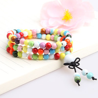Handmade ceramic jewelry apotropaic 108 buddha rosary transhipment colorful fashion beaded bracelet