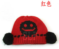 Sphere child hat baby knitted hat baby cap smiley