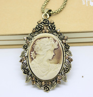 Vintage Bronze Floral Cameo Necklace