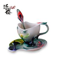 Porcelain enamel peacock coffee cup quality set bone china chingtai marriage