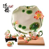 Set tea set ceramic porcelain enamel tea set teapot ceramic lotus teaberries