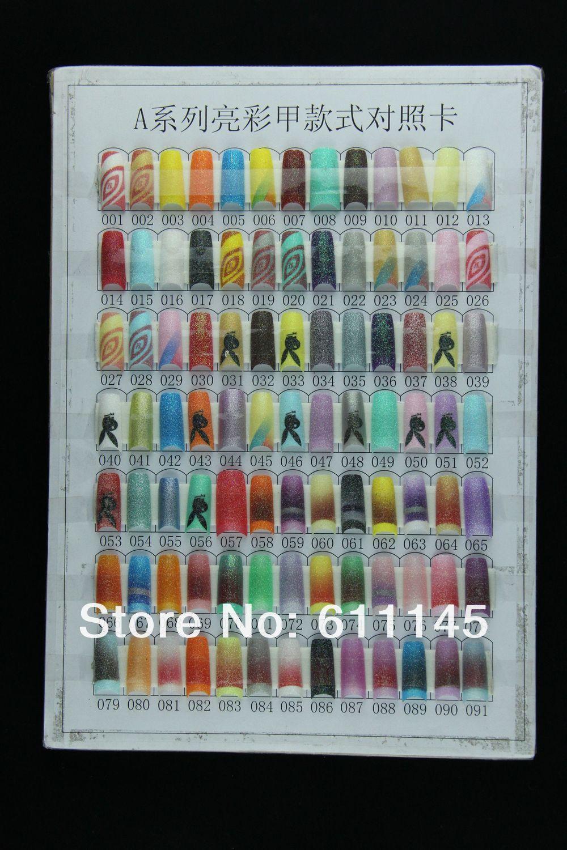 Grátis frete atacado falso francês Glitter unhas Tips117 cores Mix pré Design acrílico Art Manicure 100 unidades/pacote Nails coloridos(China (Mainland))