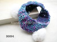 12pcs/lot colorful wool crochet wide elastic headband rabbit fur ear wool hairband winter style D0094 free shipping 5 colors