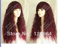 Imitation human made Hair Brazilian Girl Wine red wig thread roll bulkness natural personalized fashion bangs curly made wigs