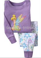 2014 New Spring autumn cartoon tinkerbell Baby girls Pajamas Long sleeves pyjamas Clothes tinker bell Sleepwear 6 sets/lot