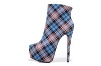 Size:35-41 Women's Red Bottom 16CM Thin Heels Blue Plaid Canvas Designer Brand Name 2013 Ankle Boots,Ladies Platform Nude Shoes