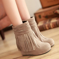 Autumn and winter tassel boots ankle-length boots platform wedges high-heeled boots with a single flat snow boots female shoes