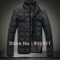 2013 Hot Sale winter Fashion Men's Leather Jacket down coat Men's Casual Wear Top quality Size M-XXL