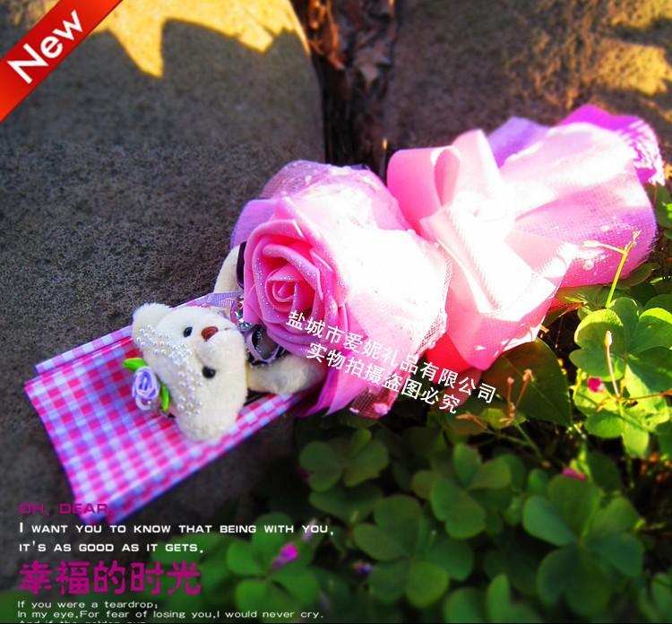 New! Christamas Festive Fake Pink Flowers Wedding&New Year Decorations Original Teddy Bear Doll Cartoon Bouquet Lovers Gifts(China (Mainland))