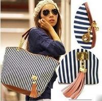 Bolsa Em Canvas Listrada Estilo Naval Bolsa Marinheiro bolsas franja shoulder bags 2014 New style woman handbag free shipping
