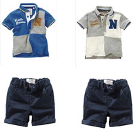 1 Set Retail Free shipping 100% cotton children clothing set summer short sleeve T-shirt+shorts 2pcs casual set
