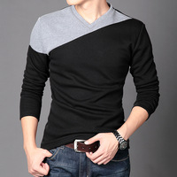 Male basic shirt V-neck male autumn long-sleeve T-shirt Men V-neck plus velvet thickening basic shirt