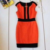 Small autumn dress elegant o-neck orange color block woolen one-piece dress