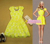 Small 2013 high quality crotch cutout lace ruffle princess one-piece dress