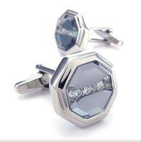 CU1122287 silver shells CZ hand made cufflinks men's shirt cufflinks French shirt  cuff links Copper alloy italy designer