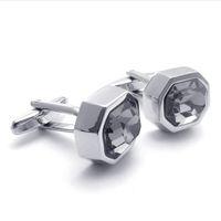 CU1122065 silver shiny CZ cufflinks men's shirt cufflinks French shirt  cuff links Copper alloy hot sale italy designer