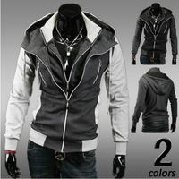 2013 new arrival man fashion casual Double zipper color match hoodies Jacket coat man/Free shipping Hot Sale High quality  W1049
