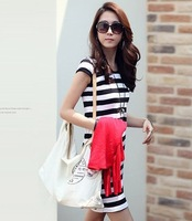 2pcs one black and one red,  slim stripe dress,  cotton thin leisure hip skirt two color M size slim dress