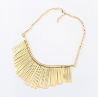 New Personality Hot Sale Gold Plated Alloy Tassel Carved Pattern Choker Collar Necklace For Women Men Gothic Punk  Party Cheap