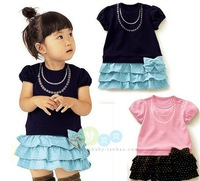 Russian special line Free Shipping!2013 hot sell baby pure cotton dress cute girl bowknot Layered dress summer kid wear