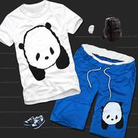 2013 lovers sports set the trend of fashion cartoon sportswear casual short-sleeve T-shirt shorts male summer