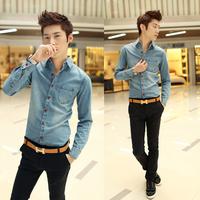 2013 all-match autumn casual denim shirt outerwear male long-sleeve water wash denim coat male shirt trend