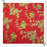 Bride clothes fabric red scarf cloth plate wire mesh gauze embroidery embroidered fabric