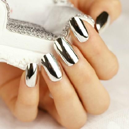 Hot sale 24 pices metallic shining nail art false nail for Vernis a ongle effet miroir