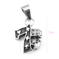 Wholesale Lot  Men's And Boy's Stainless Steel Arab word Poker 7Pendant Necklace