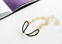 Korean hair accessories high quality fashion single-style ribbon elastic rope hollow rose hairband