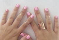 Min order $9 (Can Mix Item)  Newest  Gold-Tone Metal Cute Band Midi Knuckle Ring ,7 PCS / 1Set