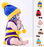 Autumn and winter essential baby warm earmuffs cap cute teddy bear labeling hat knitting hat