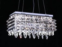 Free shipping 2013 New Modern Rectangular Crystal Chandelier Pendant Lamp Suspension Ceiling Light L60*25*32 6805/14E