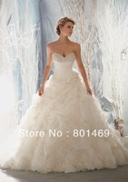 Cute 2013 Wedding Dresses A-Line Sweetheart Beads Floral Ruffled Organza Chapel Bridal Gown