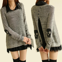 USA Free Shipping Women Skull Skeleton Punk Long Sleeve Oversized Knitted Cardigan Sweaters Tops Twinset Sweater Grey