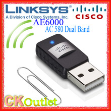 Brand New Linksys AE6000 Dual-Band 5/2.4GHz Fast 430Mbps Wireless-AC 580 Mini USB Adapter with 1 YEAR Warranty (Free Gift)(China (Mainland))