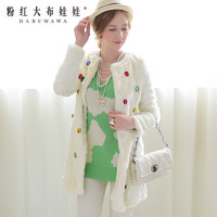 4ag 2013 winter fur coat female white xiangpin gem long design artificial leather