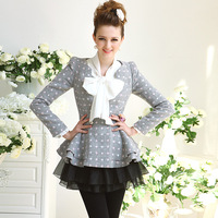 4ag Gray polka dot ruffle slim wool coat outerwear wool female