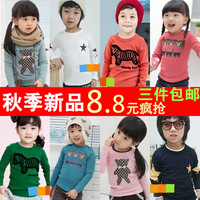Free Shipping  2013 autumn children's clothing big boy child male female child baby basic shirt long-sleeve t-shirt female