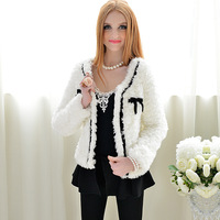 4ag Autumn and winter female outerwear white black velvet bow coat